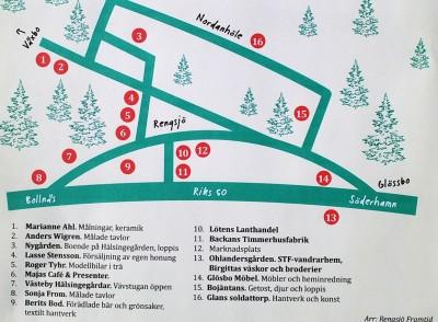Det här är kartan som visar  vilka som deltar i Öppet Hus-dagen i Rengsjö den 11 maj.