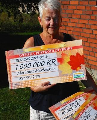 Glad miljonvinnare är Marianne Mårtensson i Östra Höle.