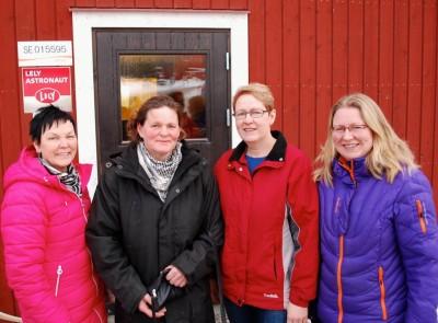 Några av intressenterna  bakom mejeriet i Rengsjö. Fr v Eva Bernstål, Jill Simsson, Carin och Jenny Bratt.